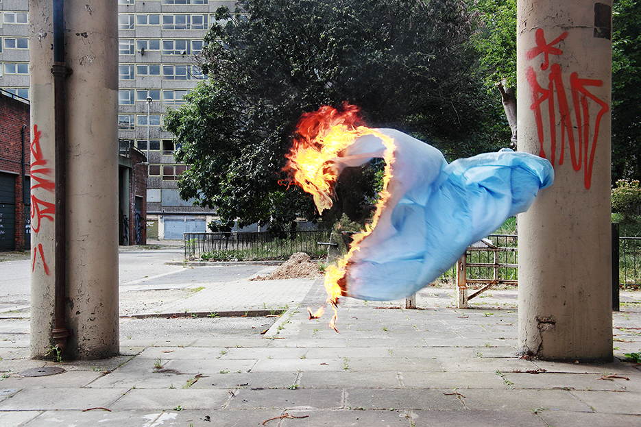 burning sheet in the abandoned Heygate Estate in the London district Elephant and Castle