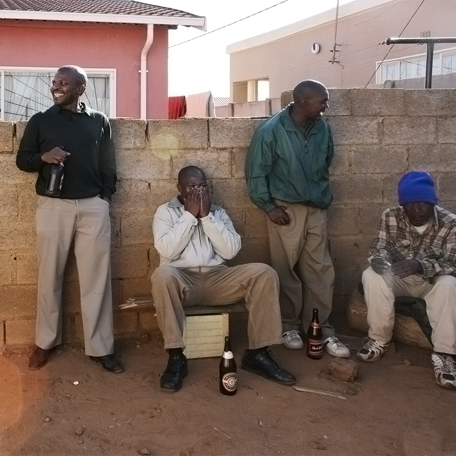kagiso familyfest portrait men drinking self brewed beer south africa